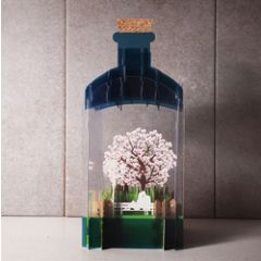 message in a bottle - 3d art kaart - verliefd stel