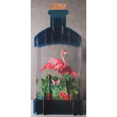 message in a bottle - 3d art kaart - flamingo