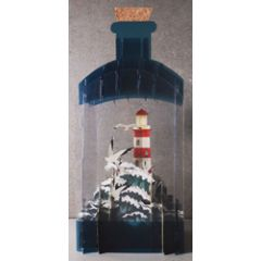 message in a bottle - 3d art kaart - vuurtoren op zee