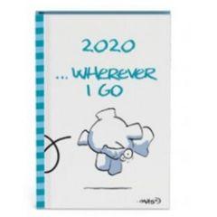 mini agenda 2020 - vis - olifant blauw - wherever i go