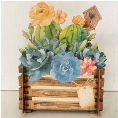 3d pop-up kaart miniature greetings - bloemen, rozen in krat | muller wenskaarten