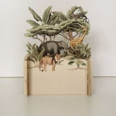 3d pop-up kaart miniature greetings - olifant leeuw giraf | muller wenskaarten