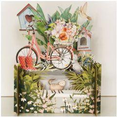 3d pop-up kaart miniature greetings - vogelhuisjes en fiets | muller wenskaarten