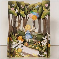 3d pop-up kaart miniature greetings - meisje met ballonnen in het bos | muller wenskaarten