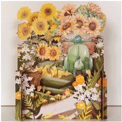 3d pop-up kaart miniature greetings - zonnebloemen en scooter| muller wenskaarten