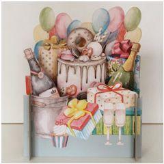 3d pop-up kaart miniature greetings - taart en champagne | muller wenskaarten
