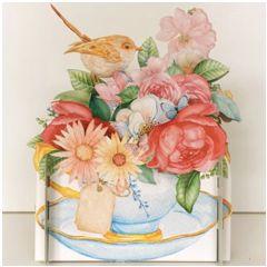 3d pop-up kaart miniature greetings - bloemen, rozen in kop en schotel | muller wenskaarten