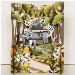 3d pop-up kaart miniature greetings - vleugel in het bos - muziek | muller wenskaarten