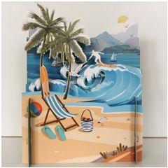 3d pop-up kaart miniature greetings - strand en zee | muller wenskaarten