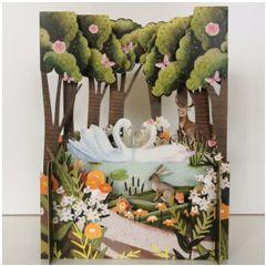 3d pop-up kaart miniature greetings - zwanen | muller wenskaarten