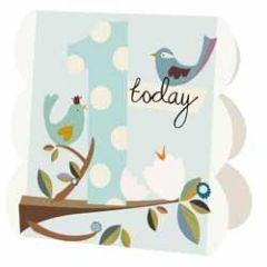 1 jaar - wenskaart caroline gardner - 1 today - vogels blauw
