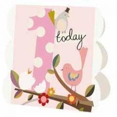 1 jaar - wenskaart caroline gardner - 1 today - vogels roze