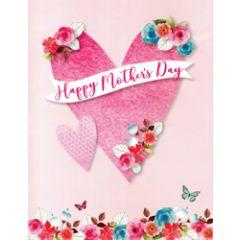 3d pop-up moederdagkaart A4 - happy mother's day - hart en bloemen