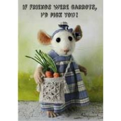 santoro tiny squee mousies wenskaart - if friends were carrots