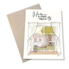 wenskaart mouse & pen - home is where my cat is