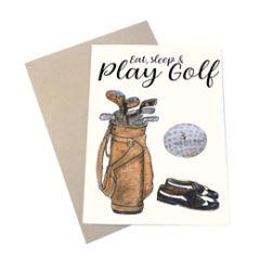 wenskaart mouse & pen - eat, sleep & play golf