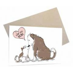 moederdagkaart mouse & pen - i love you mom - honden