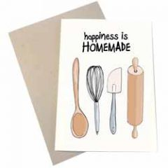 wenskaart mouse & pen - happiness is homemade - deegroller pollepel