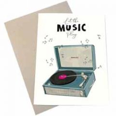 wenskaart mouse & pen - let the music play - platenspeler
