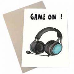 wenskaart mouse & pen - game on - headset koptelefoon