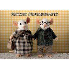 santoro tiny squee mousies wenskaart - forever squeakhearts