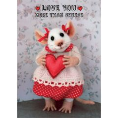 santoro tiny squee mousies wenskaart - love you more than cheese