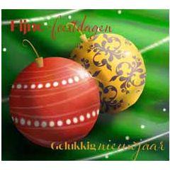 10 kerstkaarten muller wenskaarten - fijne feestdagen gelukkig nieuwjaar - kerstballen rood geel