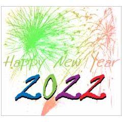 10 nieuwjaarskaarten muller wenskaarten - 2022 happy new year - vuurwerk groen rood