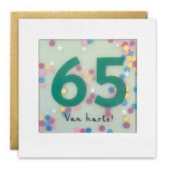 65 jaar - wenskaart met confetti - shakies - van harte!