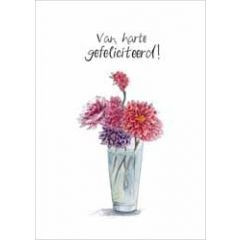 wenskaart christa mulder - van harte gefeliciteerd! - bloemen in vaas