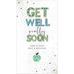 grote luxe wenskaart - get well really soon - take it easy, rest & recover