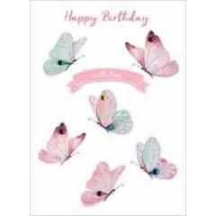 wenskaart second nature - happy birthday with love - vlinders
