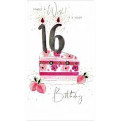 16 jaar - grote luxe verjaardagskaart - make a wish! it's your 16th birthday - taart