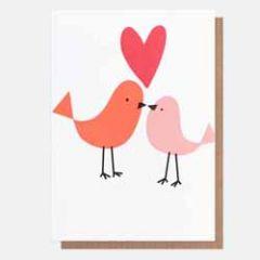 wenskaart caroline gardner - neo-pops - hart en vogels