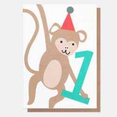 1 jaar - verjaardagskaart caroline gardner - neo-pops - aapje