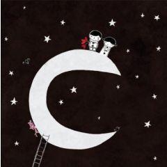 vierkante ansichtkaart met envelop - nicolas gouny - op de maan