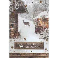10 luxe nieuwjaarskaarten - gelukkig nieuwjaar - hert in de sneeuw
