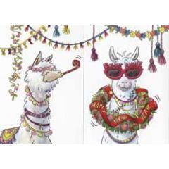 uitklapbare nieuwjaarskaart cache-cache - happy new year - lama's