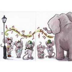 uitklapbare nieuwjaarskaart cache-cache - happy new year - muis en olifant