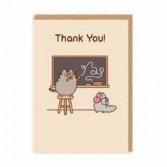 wenskaart pusheen - thank you - schoolbord