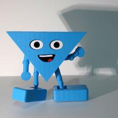 hophew - blauw poppetje van bioplastic en 3d-kaart ineen