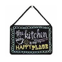 tinnen bordje met quote - hang-ups! - tekstbordje - the kitchen is my happy place