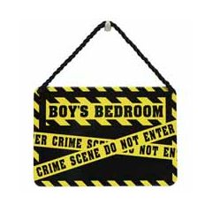 tinnen bordje met quote - hang-ups! - tekstbordje - boys bedroom crime scene do not enter