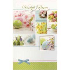 paaskaart - vrolijk pasen - paaseieren en bloemen