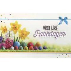 paaskaart - vrolijke paasdagen - paaseieren en narcissen