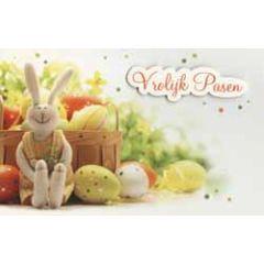 paaskaart - vrolijk pasen - paaseieren en paashaas