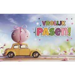 paaskaart - vrolijk pasen - paasei op auto