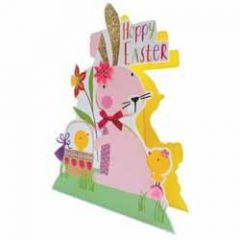 3d paaskaart paper dazzle - hoppy easter - paashaas en kuikentjes