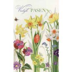 paaskaart - vrolijk pasen - lentebloemen
