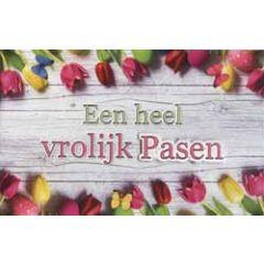 paaskaart - een heel vrolijk pasen - tulpen